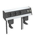 Deskbox DB, with fastening clamp, 3 sockets, HDMI, USB 3.0, 2x RJ45 Cat. 6