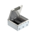 UDHOME4 floor box, with MT3 module support, freely equippable, stainless steel